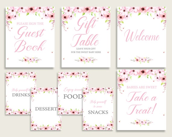 Flower Blush Baby Shower Girl Table Signs Printable Pink Green