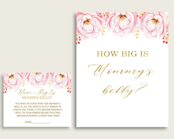 Pink Gold How Big Is Mommy S Belly Game Flowers Peonies Baby Shower