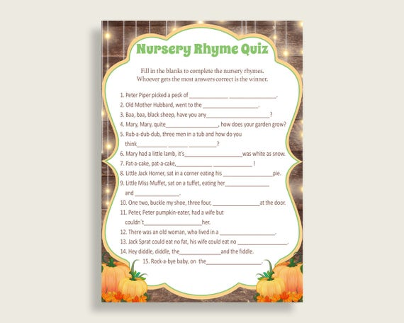 Autumn Nursery Rhyme Quiz Printable Brown Orange Nursery Rhyme Game