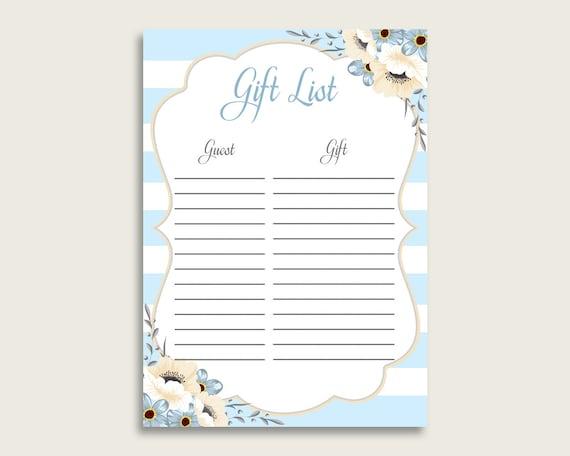 Stripes Baby Shower Gift List Blue White Printable Boy