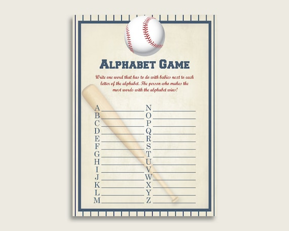 Blue Beige Alphabet Baby Shower Boy Game, Baseball A-Z