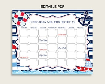 Blue Red Guess Baby Due Date Calendar Game Printable, Nautical Baby Shower Boy Birthday Prediction Calendar Editable, Instant Download DHTQT
