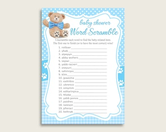 Boy Baby Shower Word Scramble Game Printable, Cute Teddy Bear Blue Brown Word Scramble, Funny Activity, Instant Download, Bow Tie tb001