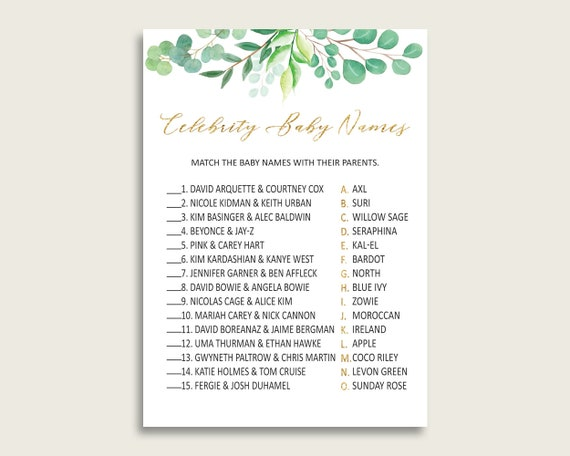 graphic regarding Celebrity Baby Name Game Printable referred to as Inexperienced Gold Superstar Little one Names, Greenery Boy or girl Shower Gender
