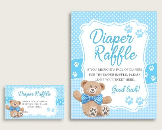 photo regarding Free Printable Baby Shower Diaper Raffle Tickets identified as Teddy Go through Child Shower Diaper Raffle Tickets Sport, Boy Blue