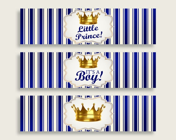 Blue Gold Water Bottle Labels Printable Royal Prince Water Bottle