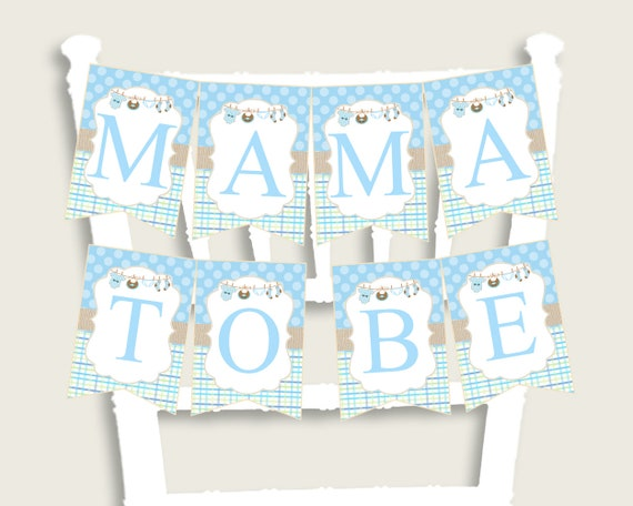 Clothes Baby Shower Chair Banner Printable Blue Beige Chair
