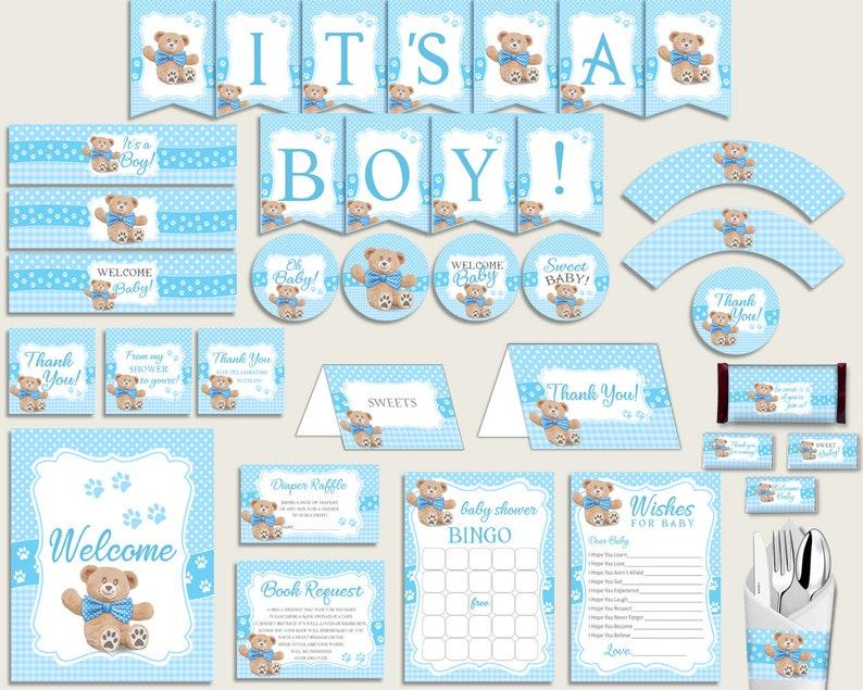Blue Brown Baby Shower Decorations Boy Kit Teddy Bear Baby Etsy