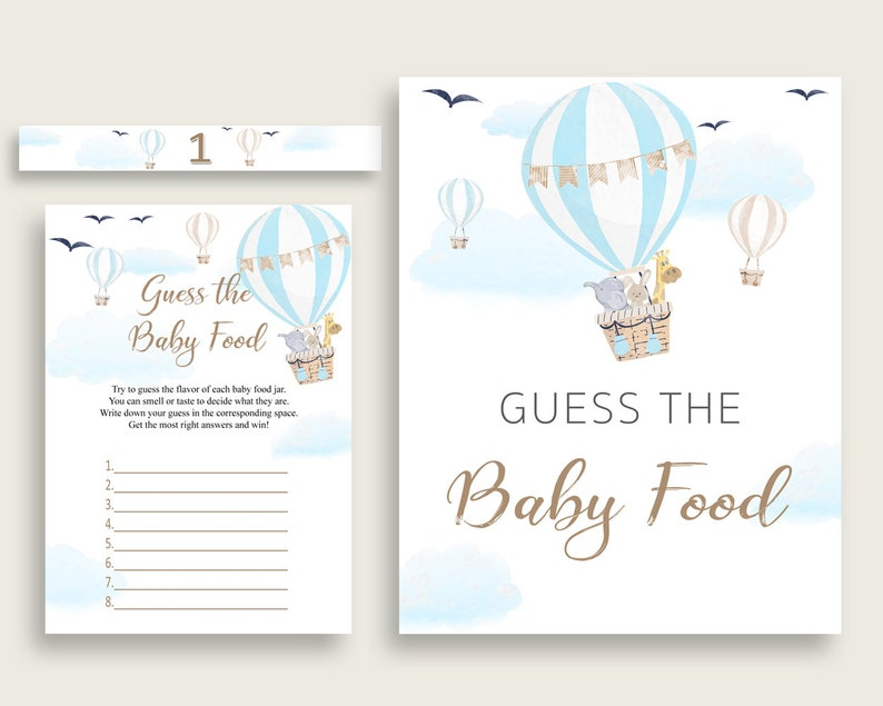 Blue White Hot Air Balloon Guess The Baby Food Game Printable, Boy Baby  Shower Food Guessing Game Activity, Instant Download, CSXIS