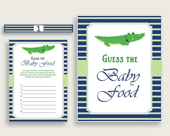 photograph regarding Guess the Baby Food Game Printable referred to as Blue Eco-friendly Alligator Wager The Child Food stuff Activity Printable, Boy