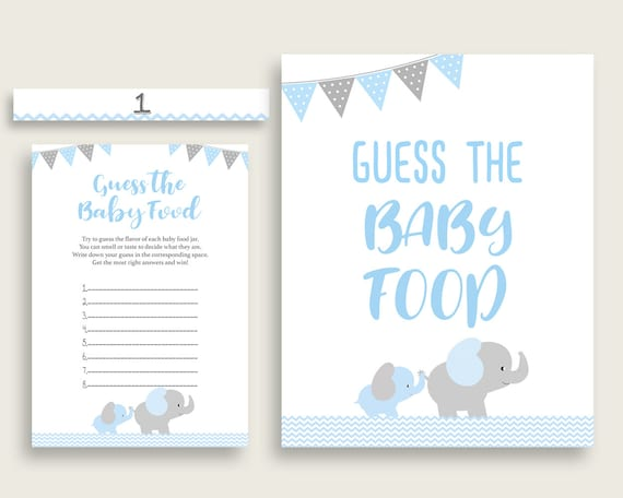 graphic regarding Baby Food Game Printable identify Blue Gray Elephant Bet The Little one Foodstuff Sport Printable, Boy