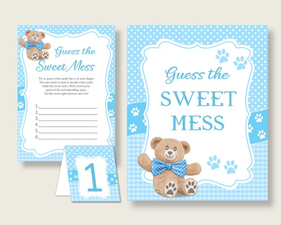graphic relating to Guess Who Game Printable referred to as Teddy Go through Guessing Activity Little one Shower Boy, Blue Brown Wager