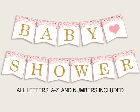 Flowers Peonies Baby Shower Banner All Letters Birthday Party