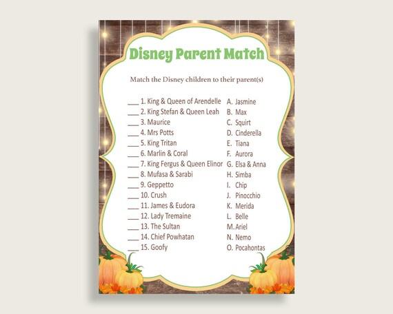 83d5398c6fd02 Autumn Disney Parent Match Game, Gender Neutral Baby Shower Game ...