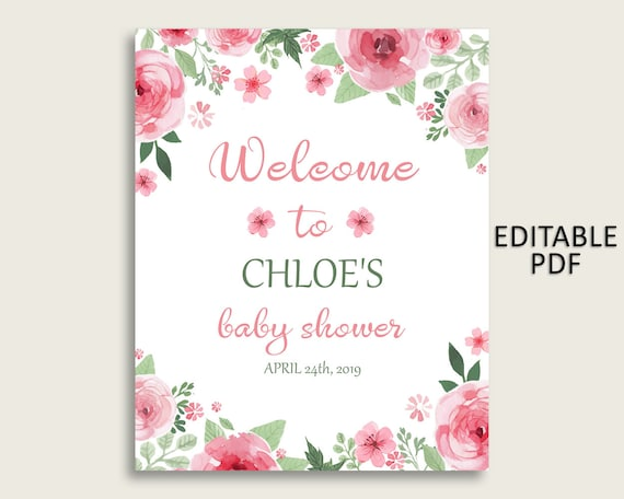 Floral Baby Shower Welcome Sign Personalized PRINTED Welcome Poster Watercolor Flowers Sign Blush and Cream colors Coral and Pink
