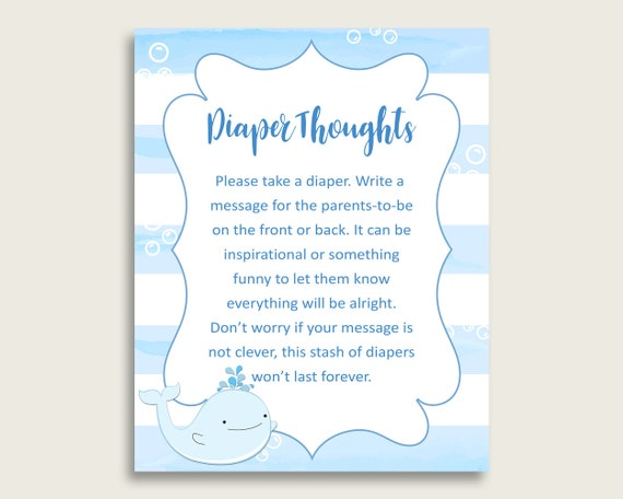 photograph regarding Late Night Diaper Messages Free Printable referred to as Whale Boy or girl Shower Diaper Intellect Printable, Boy Blue White