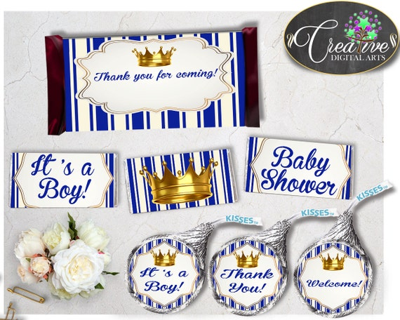 Royal Baby Shower Boy Candy Bar Wrappers And Labels Little