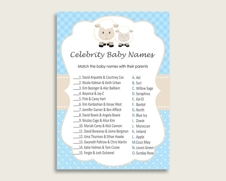 Blue White Celebrity Baby Names, Little Lamb Baby Shower Boy Name Game  Printable, Celebrity Match Game, Famous Babies Game, Celebrity fa001