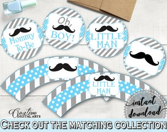 Cupcake Toppers And Wrappers, Baby Shower Cupcake Toppers And Wrappers, Mustache Baby Shower Cupcake Toppers And Wrappers, Baby Shower 9P2QW