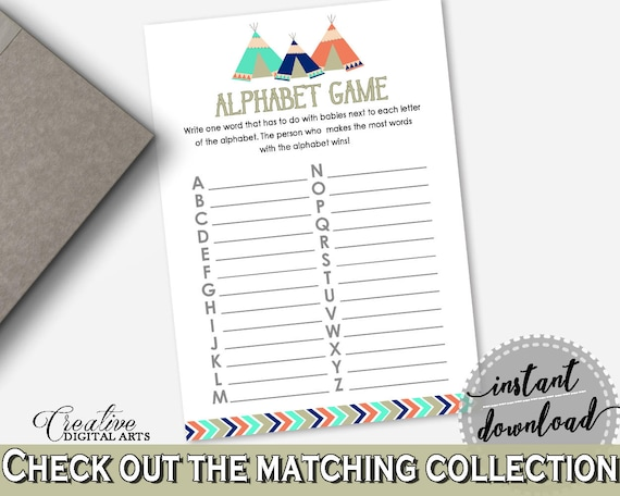 Alphabet Game Baby Shower Alphabet Game Tribal Teepee Baby Etsy
