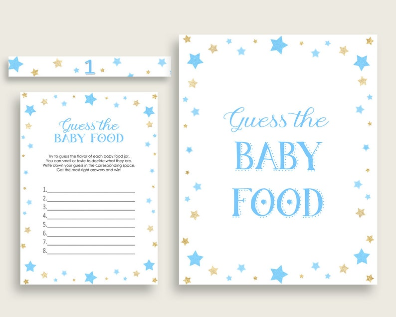 image regarding Guess the Baby Food Game Printable identify Blue Gold Famous people Bet The Child Food items Match Printable, Boy Little one Shower Foods Guessing Match Recreation, Prompt Obtain, Optimum Notable bsr01