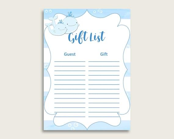Whale Baby Shower Gift List, Blue White Gift List ...