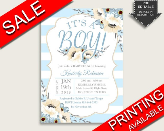 Stripes Baby Shower Invitations Printable, Digital Or Printed