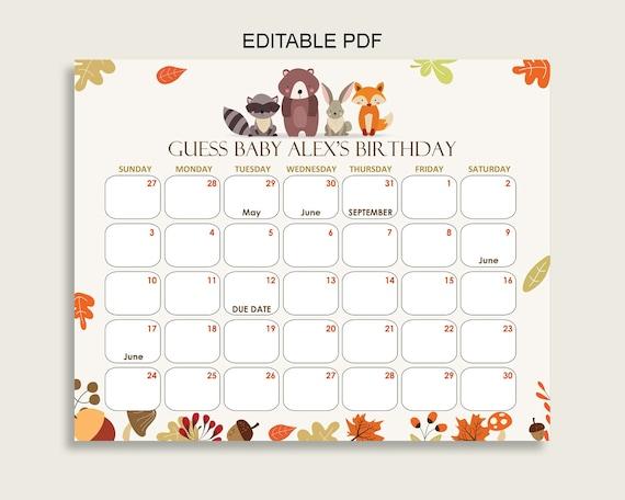 Baby Calendar May : Brown beige guess baby due date calendar game printable etsy