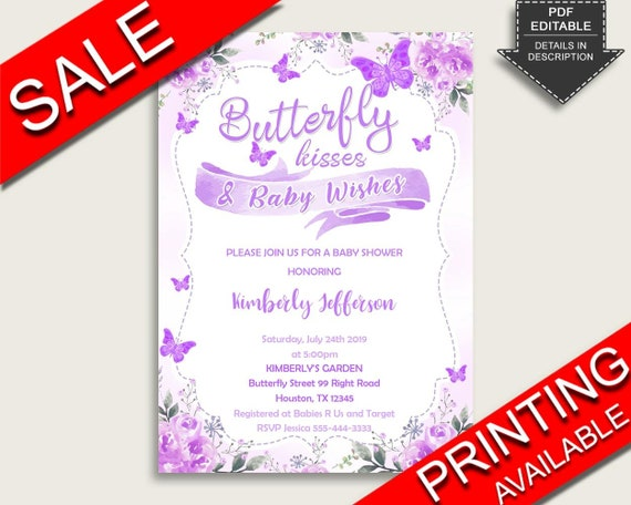 Butterfly Baby Shower Invitations Printable Digital Or Printed Invitation Baby Shower Girl Editable Invitation Purple White 7aank