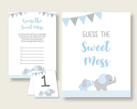 photograph regarding Guess Who Game Printable called Elephant Guessing Sport Kid Shower Boy, Blue Gray Bet The