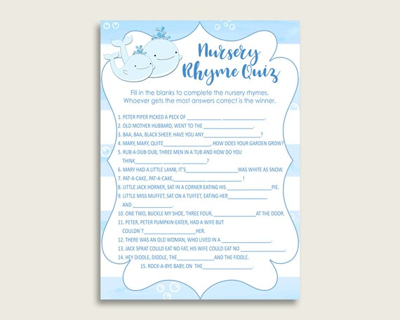 Whale Nursery Rhyme Quiz Printable Blue White Nursery Rhyme Game