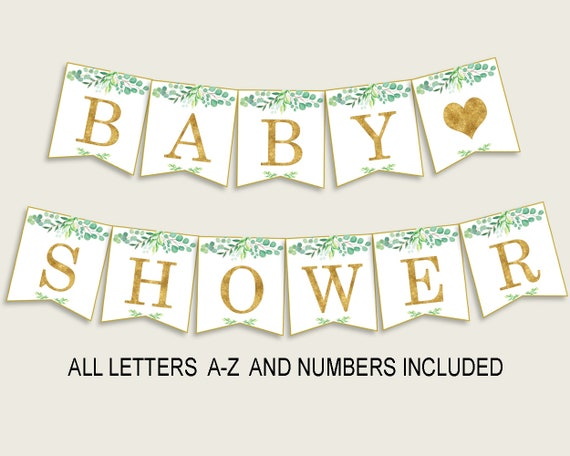 graphic regarding Baby Shower Signs Printable named Greenery Kid Shower Banner All Letters, Birthday Social gathering