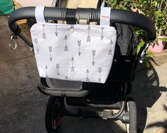 Basic Pram Caddy / Stroller Organiser - White Arrows