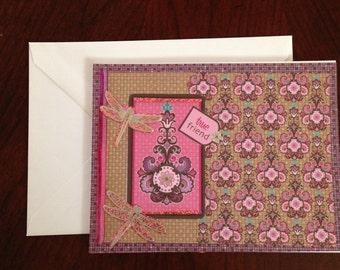 Friendship Card, Floral Card, Dragonfly Card, Homemade Card, Thank You Card,