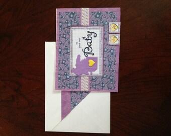 Welcome Baby Card, Baby Card, Congratulations Card, Homemade Card, Window Card