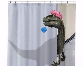 AWESOME Custom Designed Velociraptor Shower Curtain That Tells A Story And Completely Transforms Your Bathroom Into Art