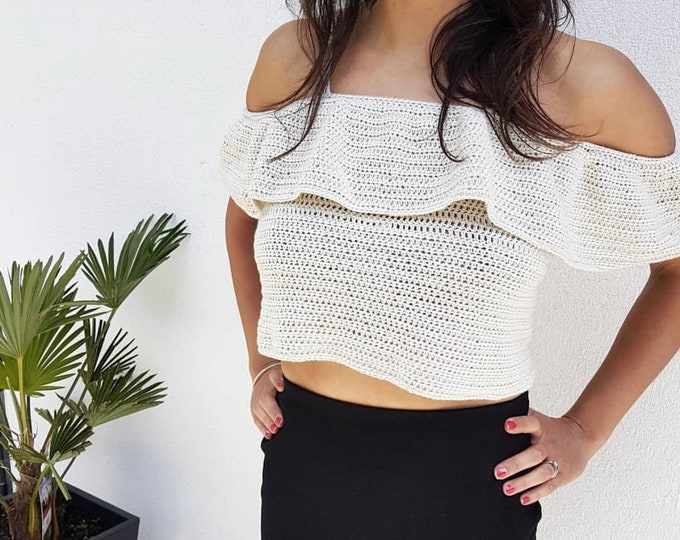 Summer Cotton Bardot Top (size 8-18) - PDF crochet pattern
