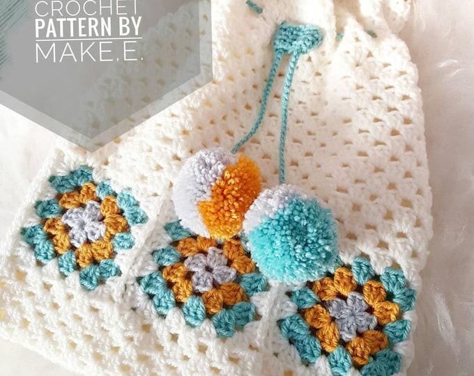 Make.E Granny Pompom Pyjama Bag Crochet Pattern PDF download