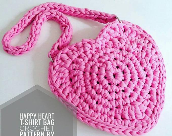 Small Childrens Happy Heart Bag UK Crochet Pattern PDF