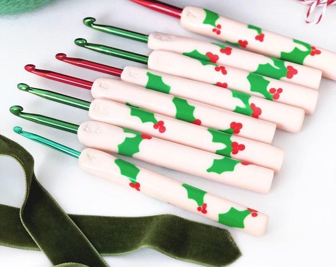 festive holly polymer clay crochet hook