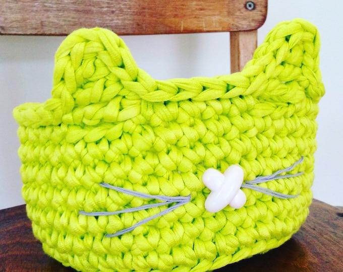 Cat ear basket crochet pattern