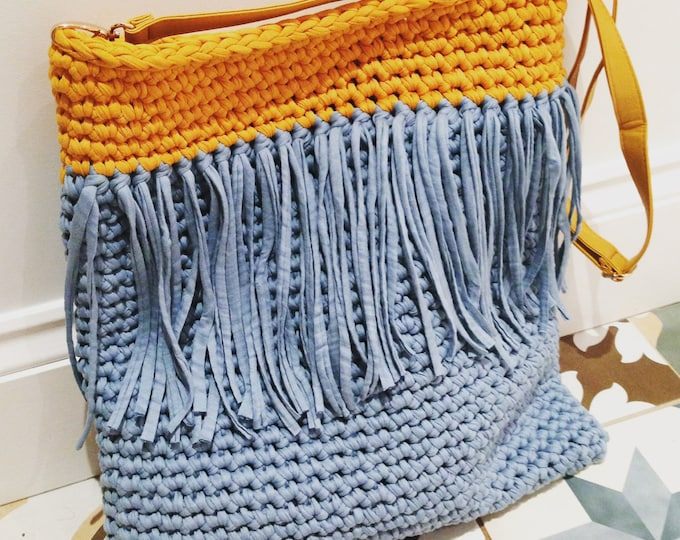 Tassel Tote T-shirt Yarn Crochet Bag Pattern