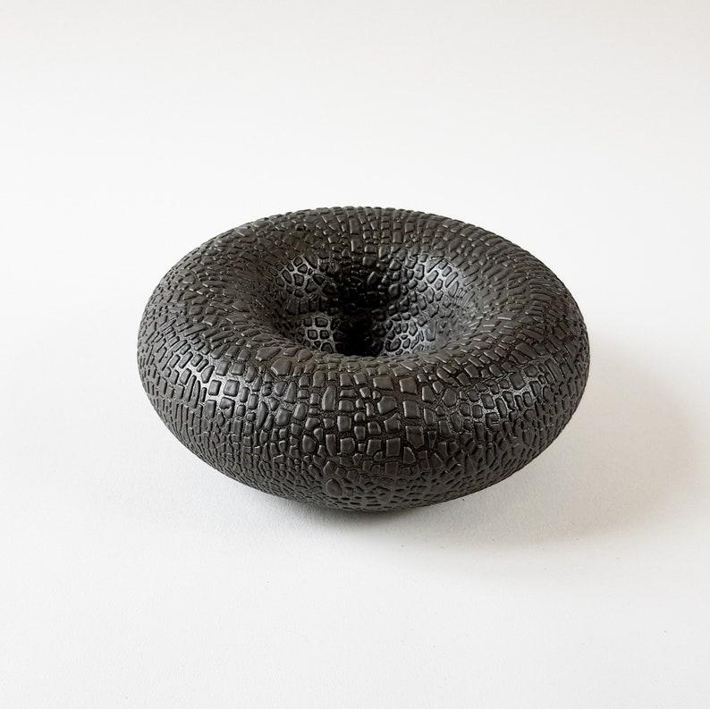 Small Stoneware Torus in a Bespoke Textured Black Bead Glaze image 0