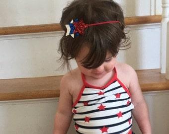 4th of july headband, stars headband, fourth of july headband, baby headband, girl headband, gitter headband