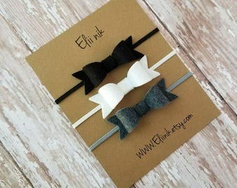 Baby bow headband, baby headband, set of 3 bow, felt bow headband set, baby bow headband set, baby headbands , bow headband