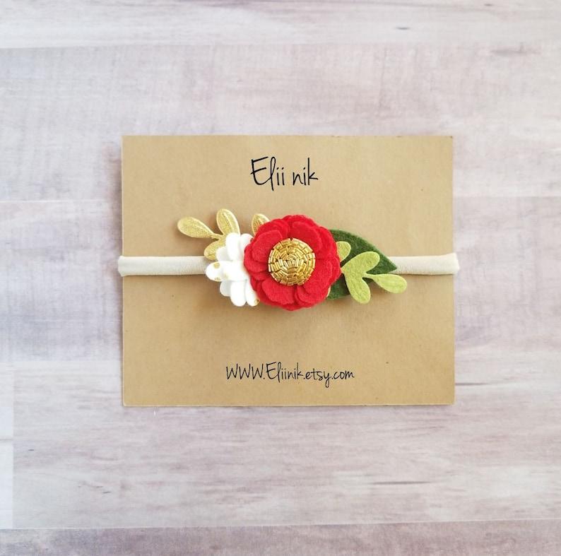 baby flower headband baby headband Christmas headband gold polka-dots headband gold flower headband Newborn headband