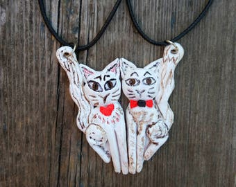 Cat pendant Cat jewelry gift for couple Boyfriend gift for girlfriend Friendship gift for friend Animal lover gift for teen girls Cat lady