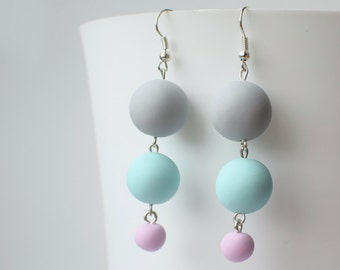 Beaded dangle earrings, Pastel Drop earrings, Beaded jewelry, Geometric earrings, Long earrings, Polymer clay earrings, Matte Ball earrings