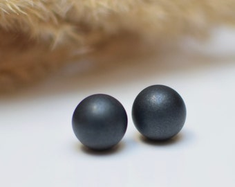 Black Stud earrings, Polymer Clay earrings, Simple Stud earrings, Black Post earrings, Everyday earrings, Metallic Stud earrings, Ball Studs