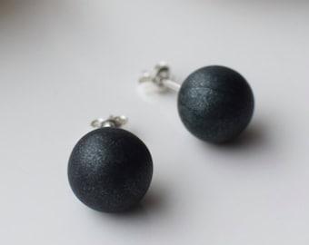 Green Stud earrings, Polymer Clay earrings, Simple Stud earrings, Green Post earrings, Everyday earrings, Handmade Stud earrings, Ball Studs